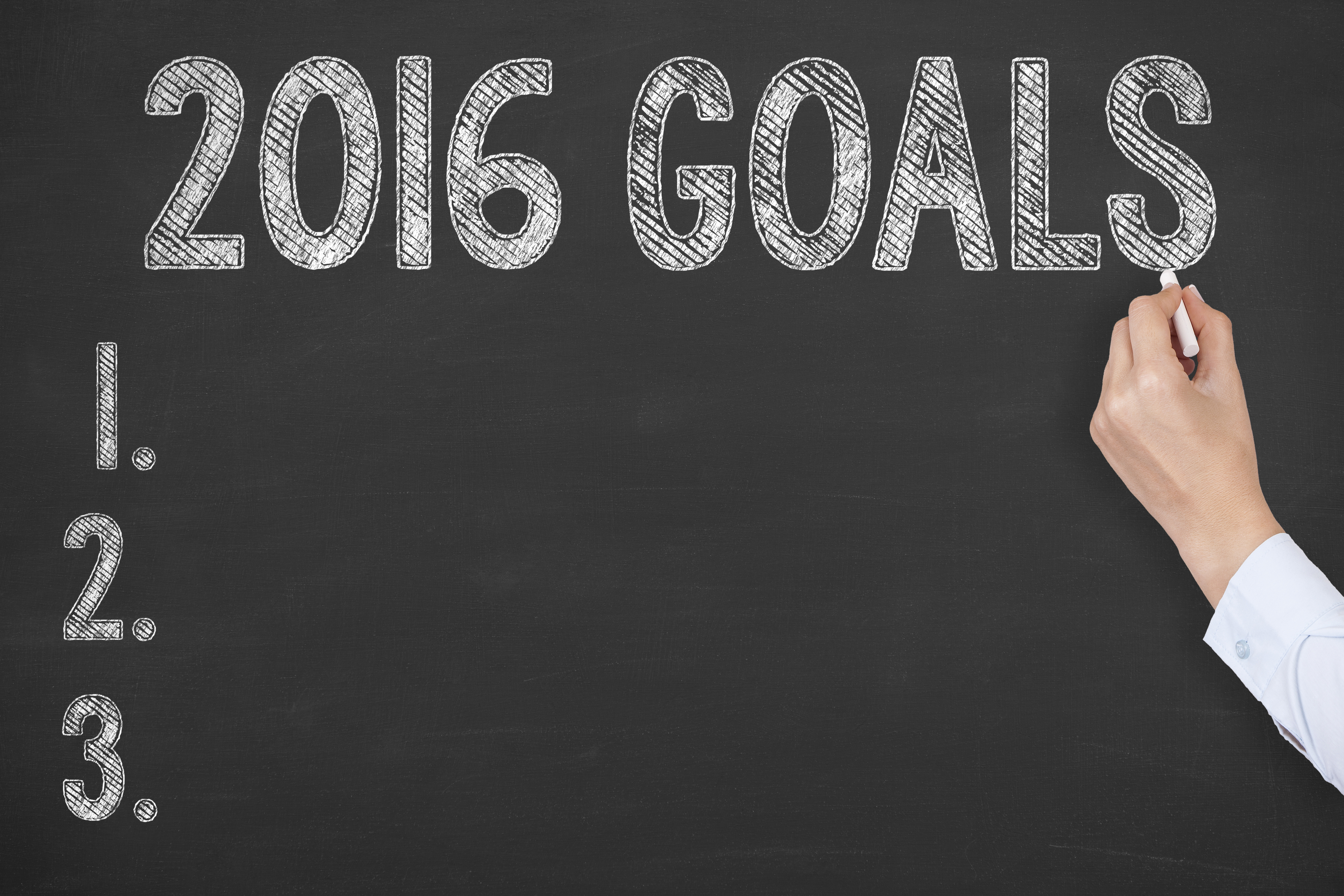 Image of a chalkboard with three personal goals for 2016