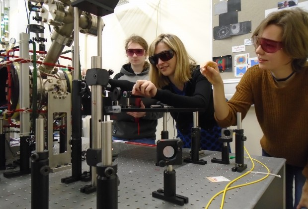 The Department of Physical Sciences laboratory with two female scientists representing diversity