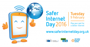 Safer Internet Day logo, promoting staying safe online
