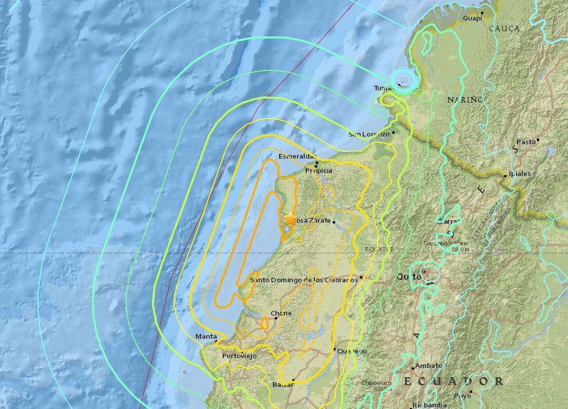 Ecuador Earthquake map