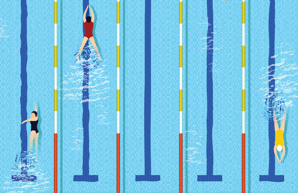 Illustration of training swimmers in a swimming pool