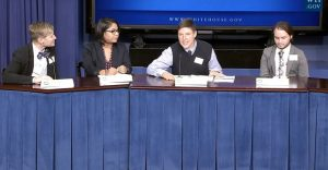 Dr Meg-John Barker during the White House Briefing.