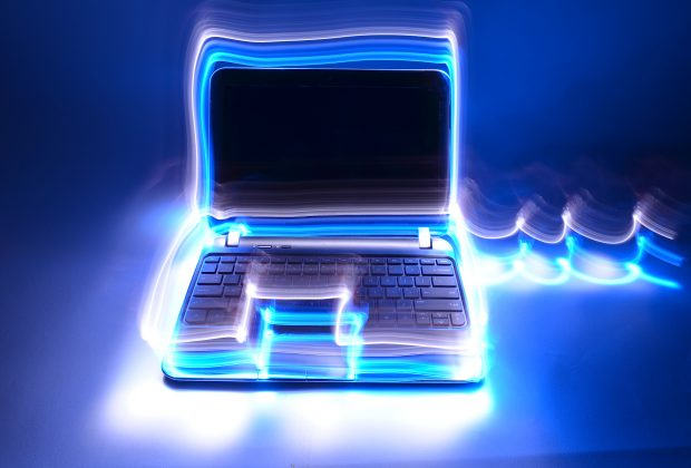 Image of a glowing laptop