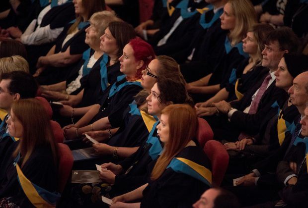 Photograph of graduates at OU degree ceremony
