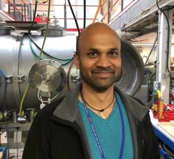 Dr Manish Patel in the OU's Hypervelocity Impact Lab.