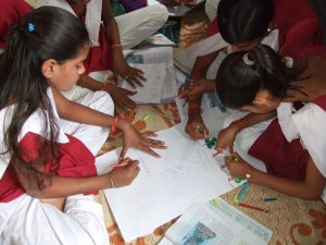 Young students learning in classroom in India