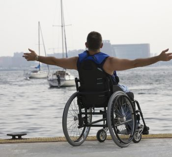 Man sitting in a wheelchair