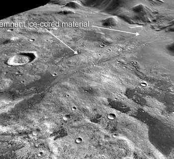 Oblique view of Phlegra Montes region of Mars showing remnant glacier and eskers. Credit: NASA
