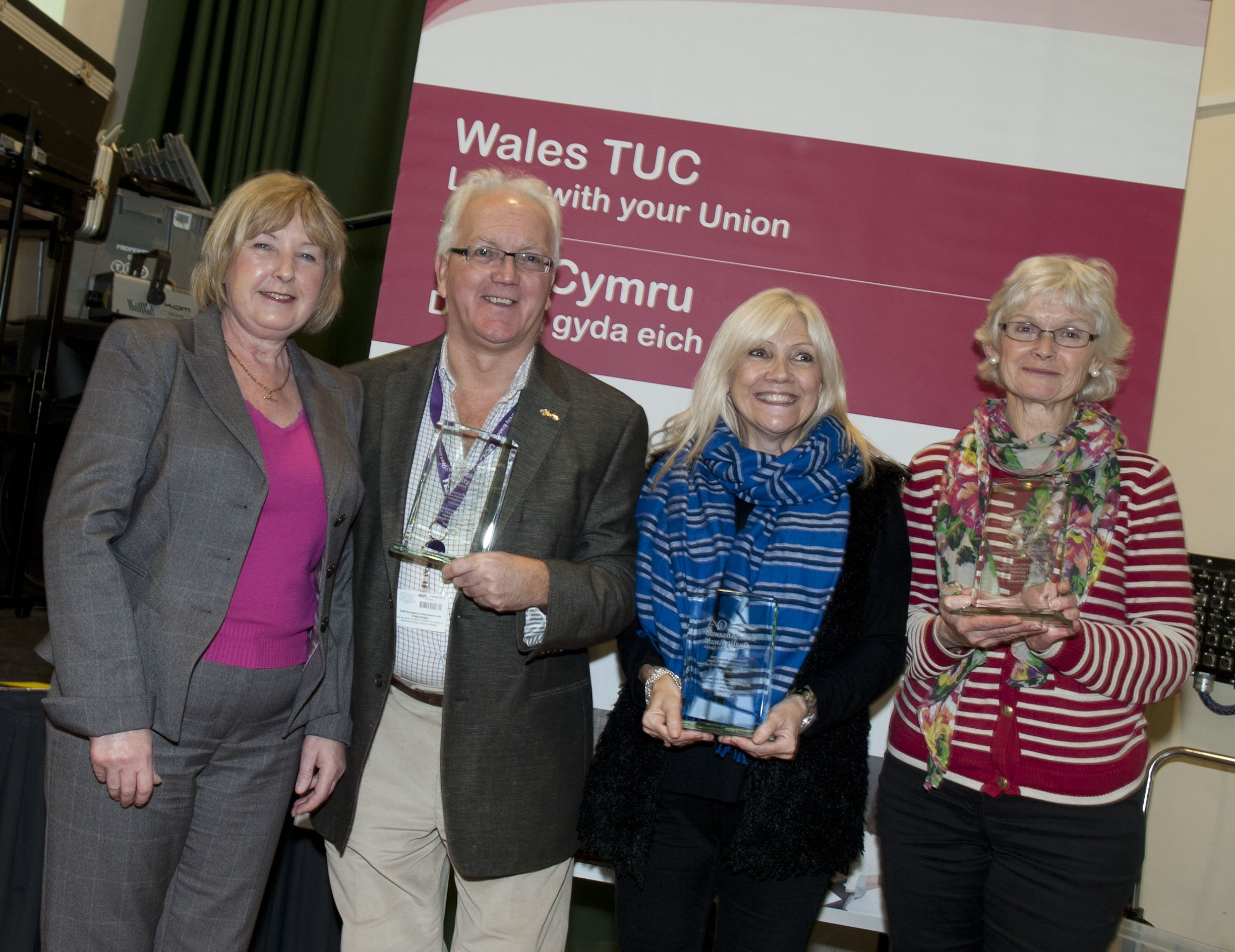 (from left to right) Julie Cook from Wales TUC with Kevin Pascoe, Jos Andrews and Ruth Brooks from The Open University in Wales