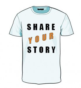 T-shirt displaying the words 'share your story'