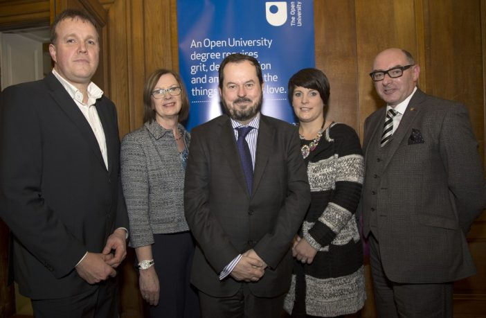 From left, MBA graduate Graeme Millar, Assistant Director of the OU in Ireland Heather Laird, Assistant Director of the OU in Ireland John Addy, Diploma in Higher Education in Mental Health Nursing graduate Andrea Craig and Director of the OU in Ireland John D'Arcy. Copyright: Kevin Cooper