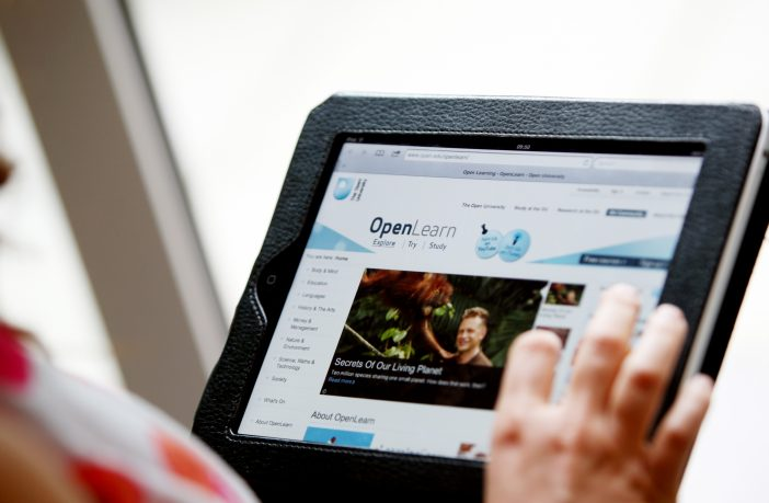 Tablet screen with OpenLearn