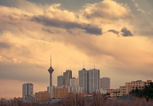 Skyline of Tehran at Sunset