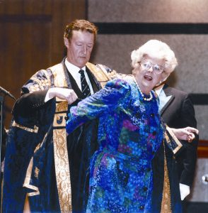 Baroness Betty Boothroyd is installed as Chanceller of the OU by then VC, Sir John Daniel