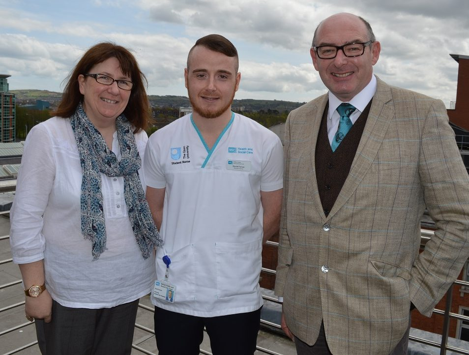 Donna Gallagher, student nurse David Ferran and John D'Arcy.