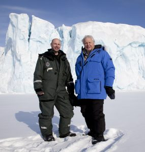The OU's Dr Mark Brandon and Sir David Attenborough on location during the filming of Frozen Planet.
