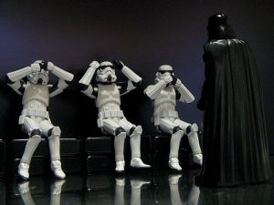 Star Wars stromtroopers and Darth Vader