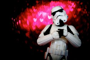 Star Wars stormtrooper holding his heart