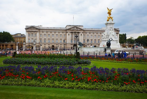 View of Buckingham Palace from garden
