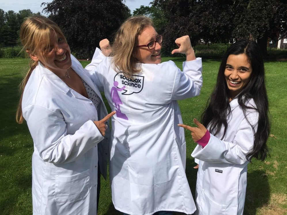 Three Open University soapbox scientists in their lab coats