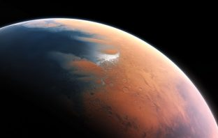 An artist impression oF the surface of the Planet Mars four billion years ago