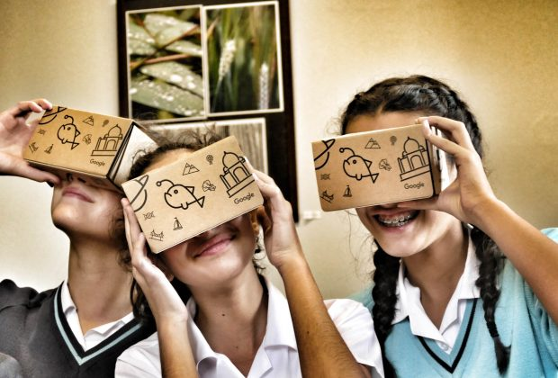 Pupils at Kings Ely Junior School try out Virtual Reality equipment