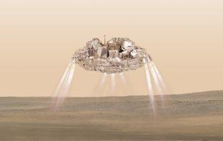 Schiaparelli lander above the surface of Mars