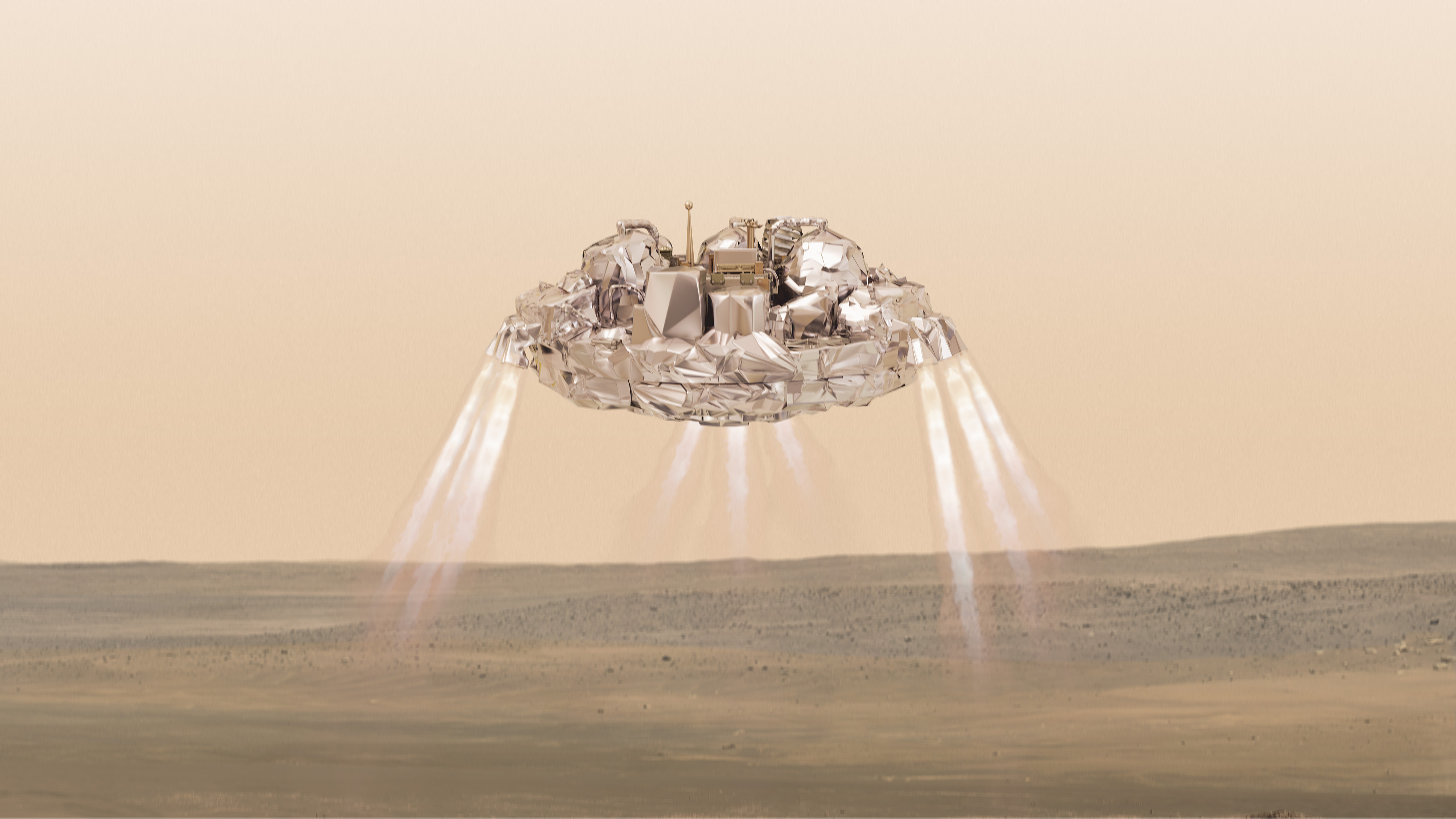 Schiaparelli lander above the surface of Mars