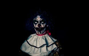 Scary painted clown face