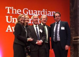 Photograph of Faculty of Business and Law collecting award