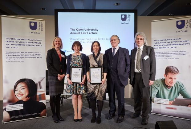 (from left-to-right) Dean of the Faculty of Business and Law, Professor Rebecca Taylor; Cate Turner; Karie Matthews; Sir Nicholas Forwood QC; Head of The Open University Law School, Paul Catley