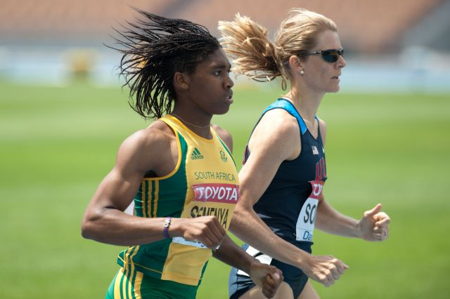 Caster Semenya and Alice Schmidt during 2011 World championships Athletics in Daegu