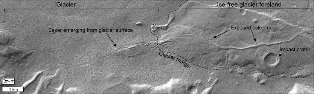 Esker emerging from glacier surface
