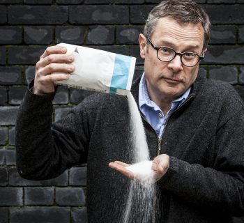 Hugh Fearnley-Whittingstall pouring sugar