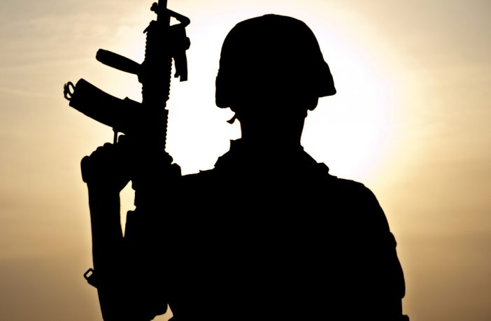 Silhouette of Afghan soldier