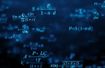 Blackboard with maths formulas