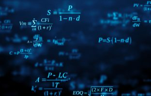 Blackboard with maths formulas