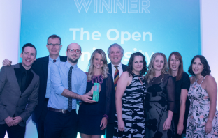 The Open University Social Media Engagement Team receives its 'Not for Profit / Charity Content Campaign of the Year 2018 award