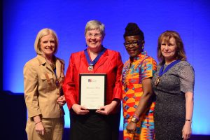 Photo of Claire Chatterton receiving her award at RCN Congress