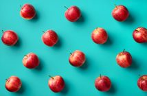 Apples in a grid pattern with bright background