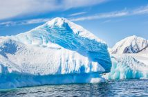 An iceberg floating in the Antarctic Ocean