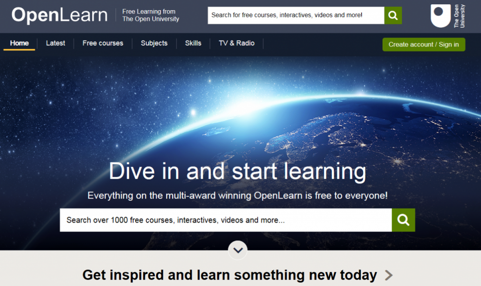image of OpenLearn front page