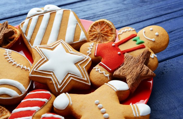 Plate of festive biscuits