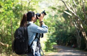 Woman photographer taking photos outdoor