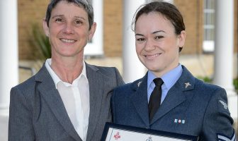 Demelza Dachtler receiving Commanding Officers Commendation with her mother, Julie