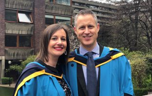 Andy and Tania Vanburen collect their MBAs at The Barbican, London