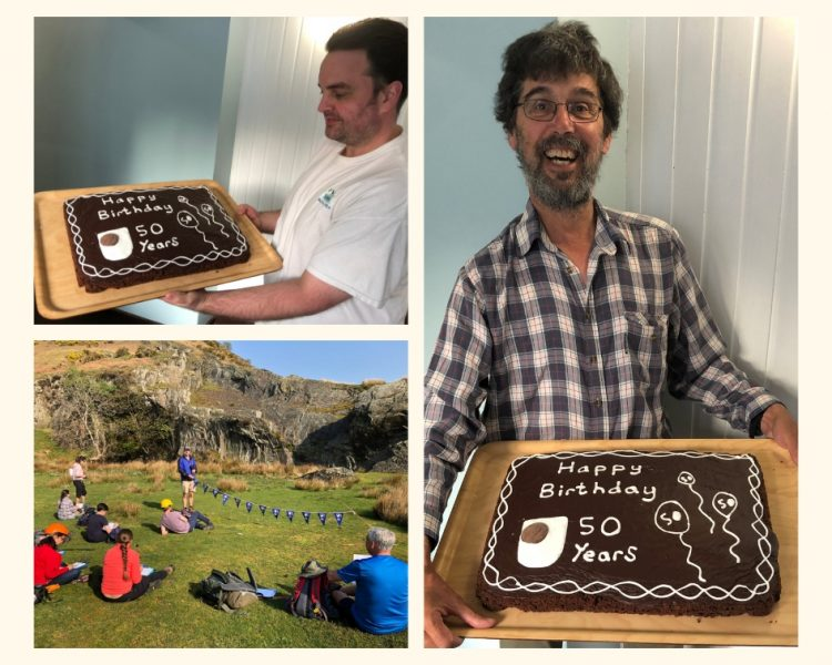 collage of images showing Geology field trip participants and their celebratory cake.