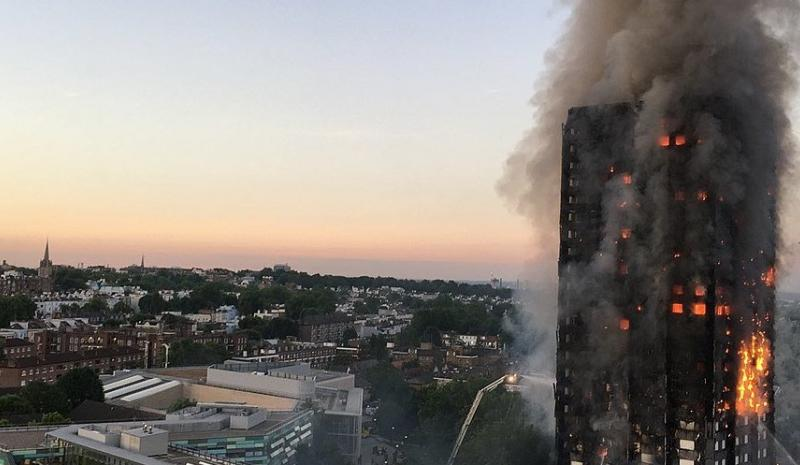 Photograph of a tower block on fire