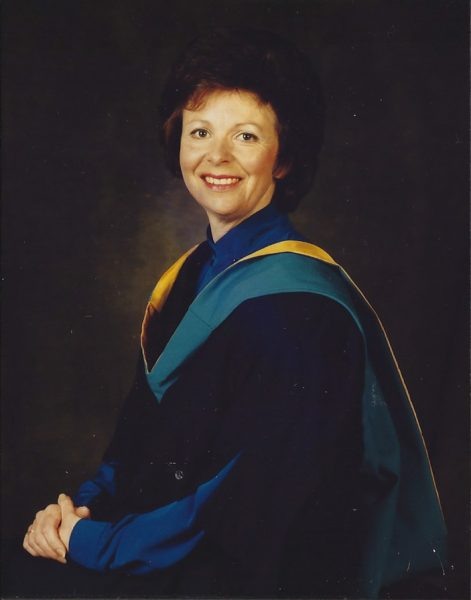 Jacky de Laporte in Jean Hooper's graduation gown
