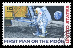 Stamp from 1969 featuring the moon walk